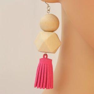 Boho Leather Tassel Drop Earrings Wood Detail Pink